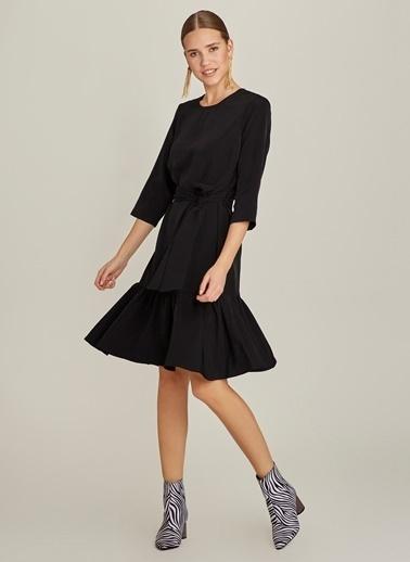 NGSTYLE Truvakar Kollu Volanlı Elbise Siyah